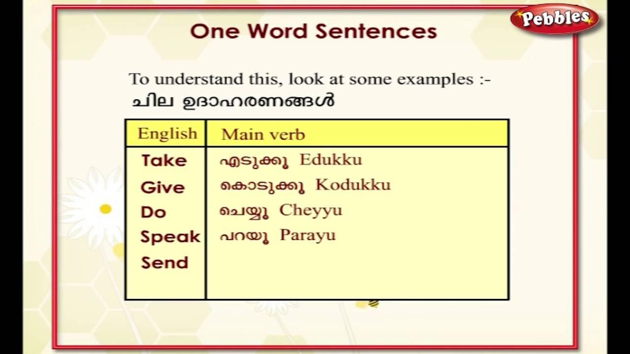 Learn Malayalam Through English | Lesson - 11 One word sentences