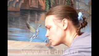 Роспись стены в гостиной. Венеция. Рисуем птичек!(Наше новое видео- фрагмент росписи стены в гостиной. Венеция, венецианский пейзаж. Рисуем птичек! Арт- студи..., 2016-03-30T08:14:43.000Z)