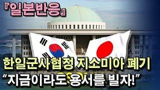 """[일본반응] 한일군사협정 지소미아 결국 폐기 """"용서를 빌어야 한다"""""""
