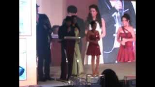 Ruchika Davar on stage with Bollywood celebs Hussain & Karishma Tanna