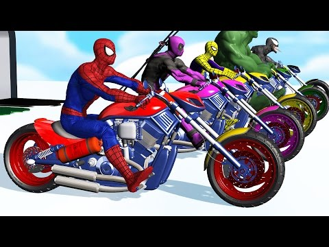 Thumbnail: Learn Colors - Motorcycle w Superhero Spiderman Cartoon Videos with Car for kids & Nursery Rhymes