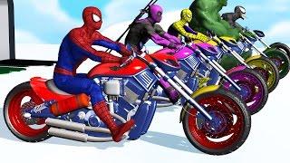 Renkleri öğrenmek - çocuklar ve Kreş için Araba ile Motosiklet w süper Kahraman Örümcek Adam Çizgi film Videoları Tekerlemeler