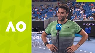 "Matteo berrettini: ""i hope you guys enjoyed it."" (1r) on-court interview 