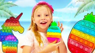 Nastya e sua amiga aprendem a compartilhar um com o outro! Pop-lo desafio para crianças