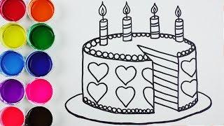 Cómo Dibujar y Colorear Torta de Arco Iris - Arte y Colores Para Niños - Learn Colors / FunKeep