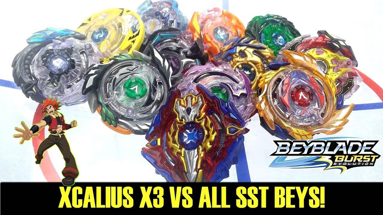 Xcalius X3 Vs All Switchstrike Beys Beyblade Burst Evolution Youtube