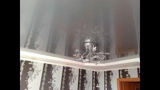 Установка серых натяжных потолков в зале