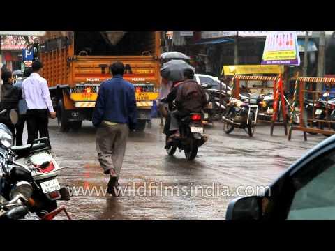 A rainy wet monsoon in Panchgani town, Maharashtra