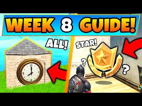 Fortnite WEEK 8 CHALLENGES! - Clock Locations, Secret Star? (Battle Royale Season 9 Guide)