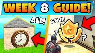 Fortnite WEEK 8 desafios! -Locais do relógio, estrela secreta? (Battle Royale 9 ª temporada guia)