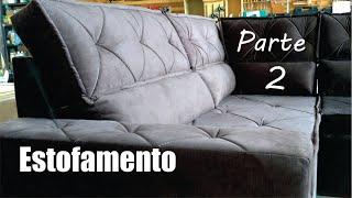 Sofá de canto com chaise estofamento e revestimento   upholstery corner sofa