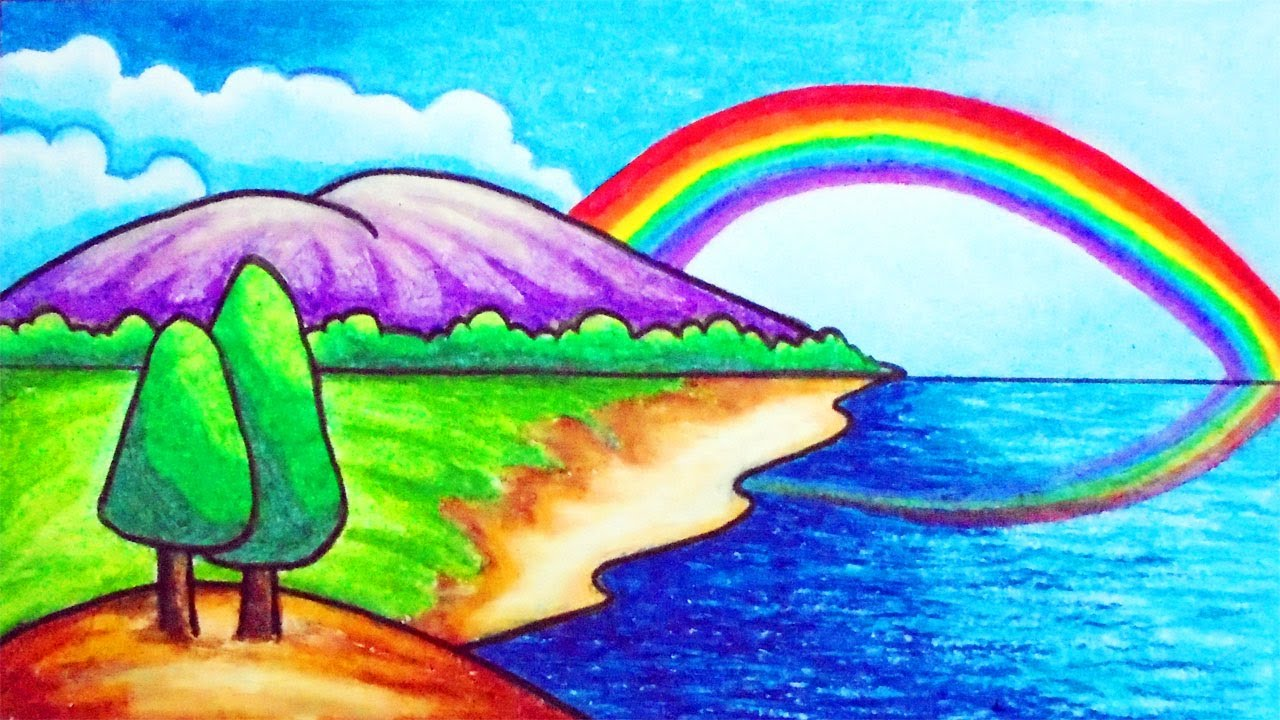 How to Draw Easy Scenery | Drawing Simple Rainbow Scenery ...