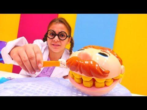 Dişçi oyunu 👄. Sema Diş Ali'ye altın diş yapıyor 🌟. Oyuncak video izle. #Doktoroyunları