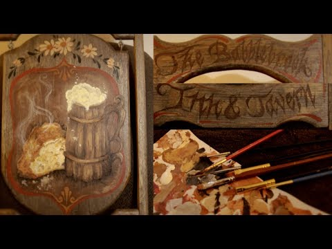 ASMR Painting a Wooden Tavern Sign
