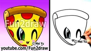 Kawaii Food - How to Draw Kawaii Stuff EASY! - Pizza - Best Drawing Channel - Fun2draw