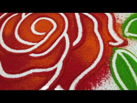 इतनी खूबसूरत आसान Rose flower की रंगोंली आप पहली बार देख रहे होगे - 동영상