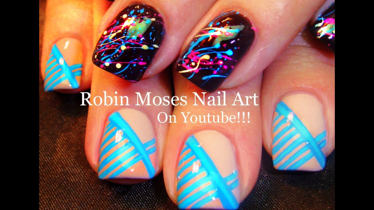Fun Nails! 2 Diy Nail Art Tutorials | Splatter Paint & Stripes! Nail Design  - YouTube - Fun Nails! 2 Diy Nail Art Tutorials Splatter Paint & Stripes