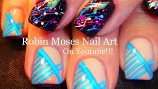 Nail Art Tutorial | Diy Easy Splatter Paint & Blue Stripe Nail Design