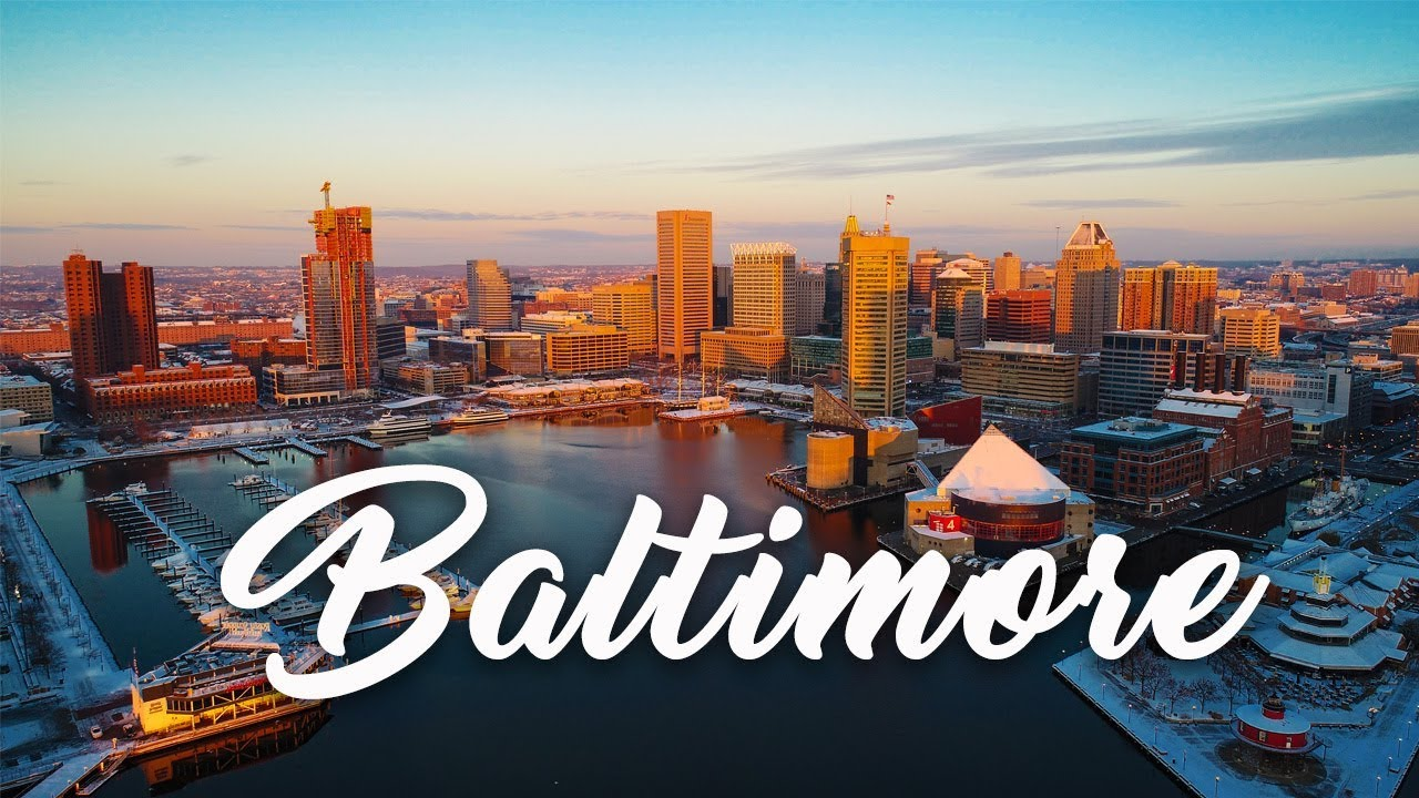A Drone Flight Over Baltimore In The Snow Aerial 4k