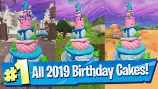BIRTHDAY CHALLENGES ARE OUT!! | ALL CAKE LOCATIONS | FREE REWARDS | (Fortnite Battle Royale)