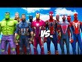 All Spiderman Suit Vs The Avengers - Hulk, Iron Man, Captain America, Black Wido