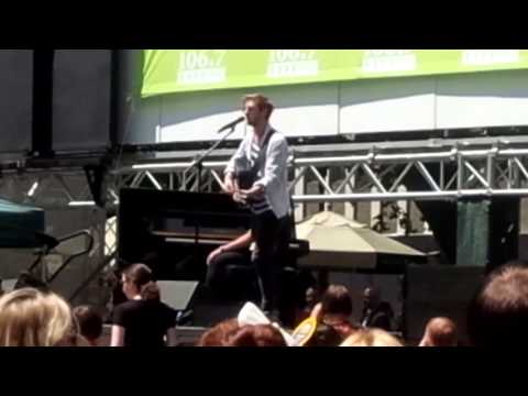 Arthur Darvill and Joanna Christie performing at Broadway at Bryant Park 2013