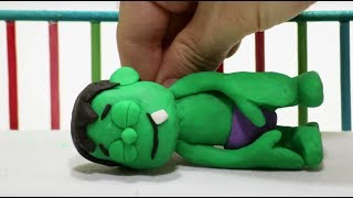 Baby Hulk needs Teddy bear Stop Motion Play Doh Cartoon for children thumbnail