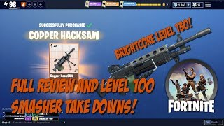 New Fortnite Hacksaw LMG! Full Review and ⚡100 Smasher Bash!