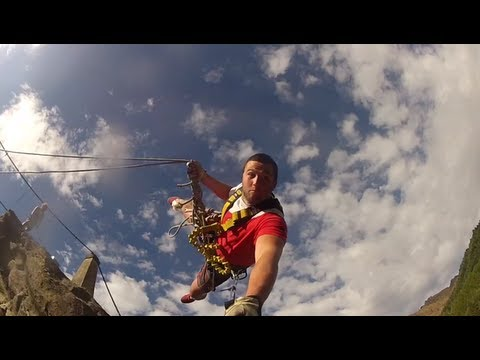 Skippers Canyon Bridge - GIANT 230ft Rope Swing - New Zealand 2013 - GoPro HD