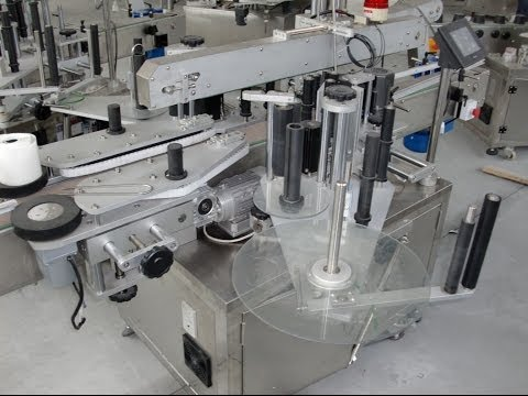 Square Bottles Round Container Plastic Glass Vertical Labeling Machines Double Sided 双面方瓶子貼標機貼標機全自動