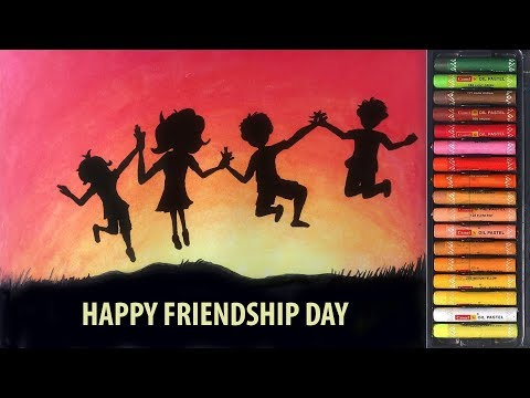 Friendship Day Drawing How To Draw Friendship Day With Oil Pastels How To Draw Best Friends Youtube