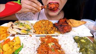 ASMR:Delicious*Indian food* eating (Biriyani rice,paanipuri,butterchicken) *Eating sounds*
