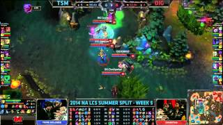 TSM (Bjergsen Syndra) VS Dignitas (Shiphtur Orianna) Highlights {Epic} - 2014 NA LCS Summer W5D1
