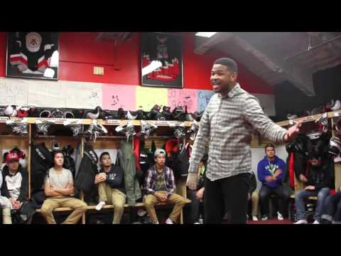 INKY SPEAKS TO THE CREE NATION BEARS HOCKEY TEAM WHILE IN CANADA