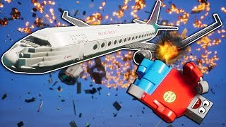 Lego Airplane Collides with Napalm Bomb! - Brick Rigs Gameplay