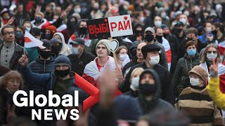 Belarus protests: Demonstrators fill streets for 11th weekend amid calls for national strike