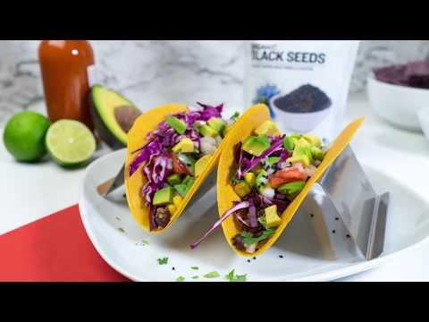 Black Seed Taco Recipe (With black beans, quinoa & avocado. Vegan-friendly!)