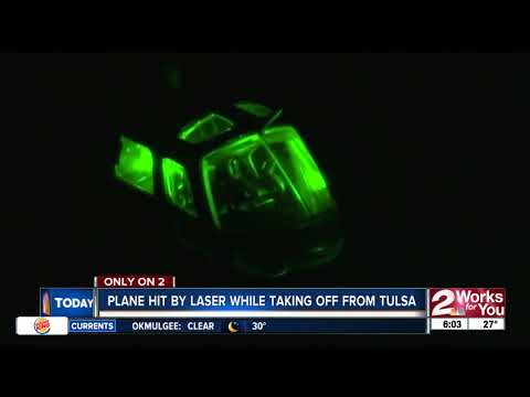 Plane hit by laser while taking off from Tulsa