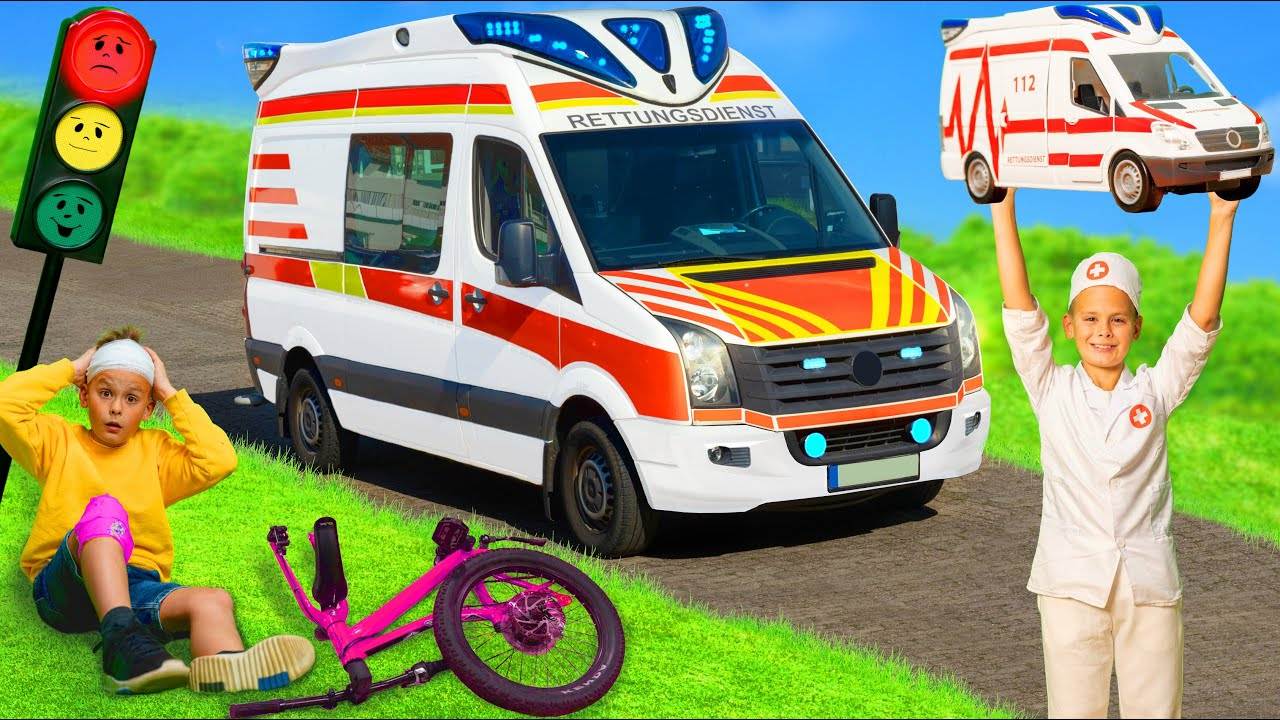 The Kids Pretend Play With A Real Ambulance And Toy Vehicles