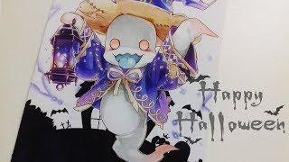 "👻""Drawing Ghost""  [ Drawing Teru - Chain Chronicle ( チェインクロニクル - はにかみ屋おばけたちテルー ) ] 🎃Special🎃"
