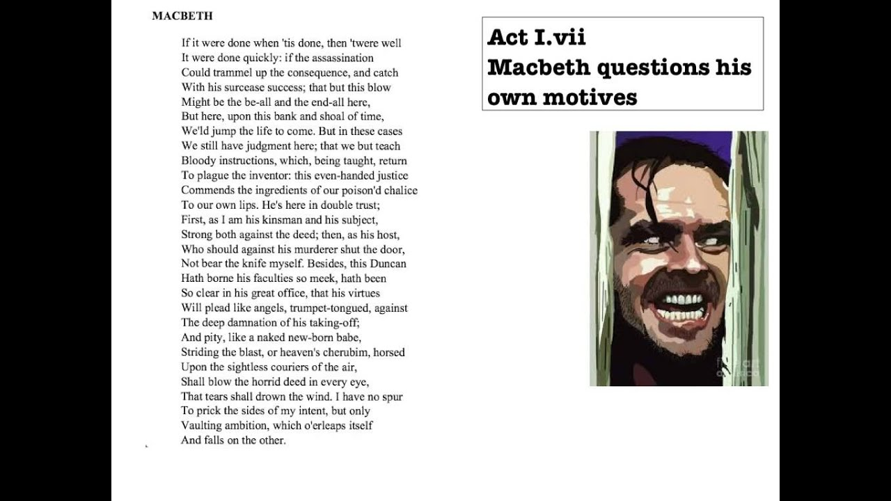 Macbeth Act 1 Scene 7 Speech Analysis Youtube
