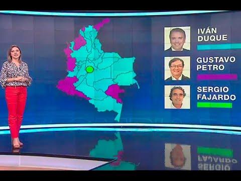 Mapa político de Colombia con Iván Duque y Gustavo Petro en primera vuelta  | Noticias Caracol