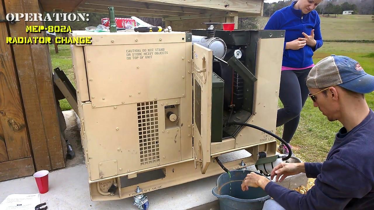 Military Surplus Generator - MEP 802A RADIATOR CHANGE