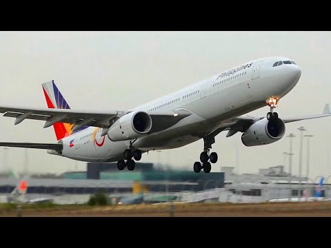 75th Anniversary Decals - Philippine Airlines A330-300 - Landing & Takeoff at Melbourne Airport