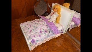 Простынь и одеяло на кроватку для куклы своими руками