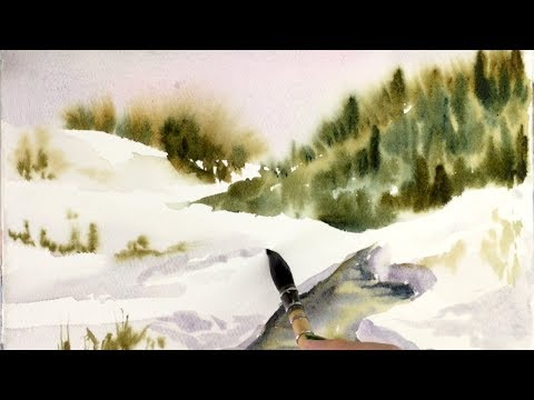 Watercolor Snow Scenery Painting Demonstration