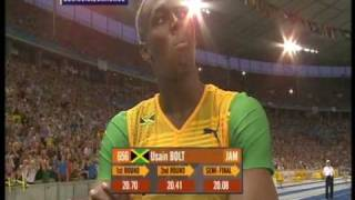 Usain Bolt 200m world record: 19.19!!! (+ Michael Johnson's reaction) thumbnail