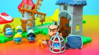 The Smurfs Micro Village Gargamel Castle & Windmill Playset