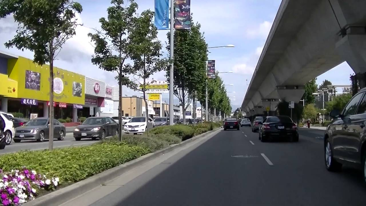 Driving in Richmond BC Canada - No 3 Road - Downtown Area - Chinese Restaurants - Skytrain