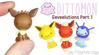 figcaption How to DIY Original Eeveelutions Dittomon:  Eevee, Vaporeon, Flareon, Jolteon Polymer Clay Tutorial
